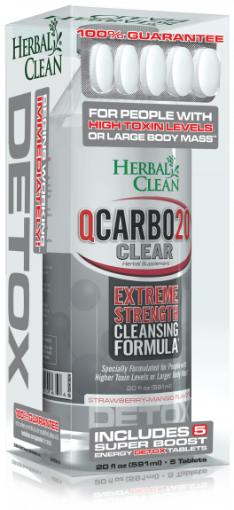 20 OZ Qcarbo Herbal Clean Detox: 591ml Strawberry Mango + 5 Boost Tablets