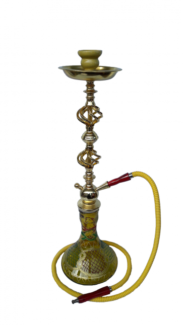 Yellow Spark Hookah Pipe Large Single Hose